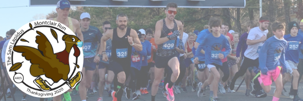 """A group of runners with a turkey and a logo that says """"44th The Sam Lapidus Montclair Run Thanksgiving 2020"""""""